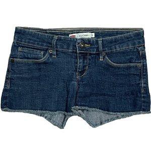 Levis Medium Wash Cut Off Shorty Short Juniors